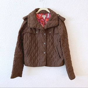 Lilly Pulitzer G Storm Flap Jacket Quilted Brown S